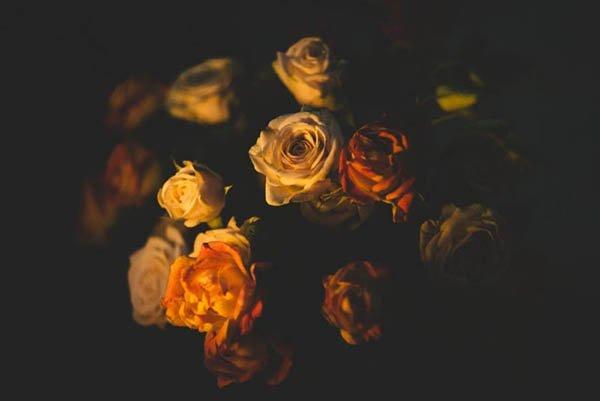 Rosenstrauß symbolisch für Abschied und Seebestattung