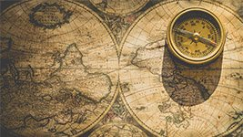Seekarte als Symbol für Bestattungsgebiete Seebestattung